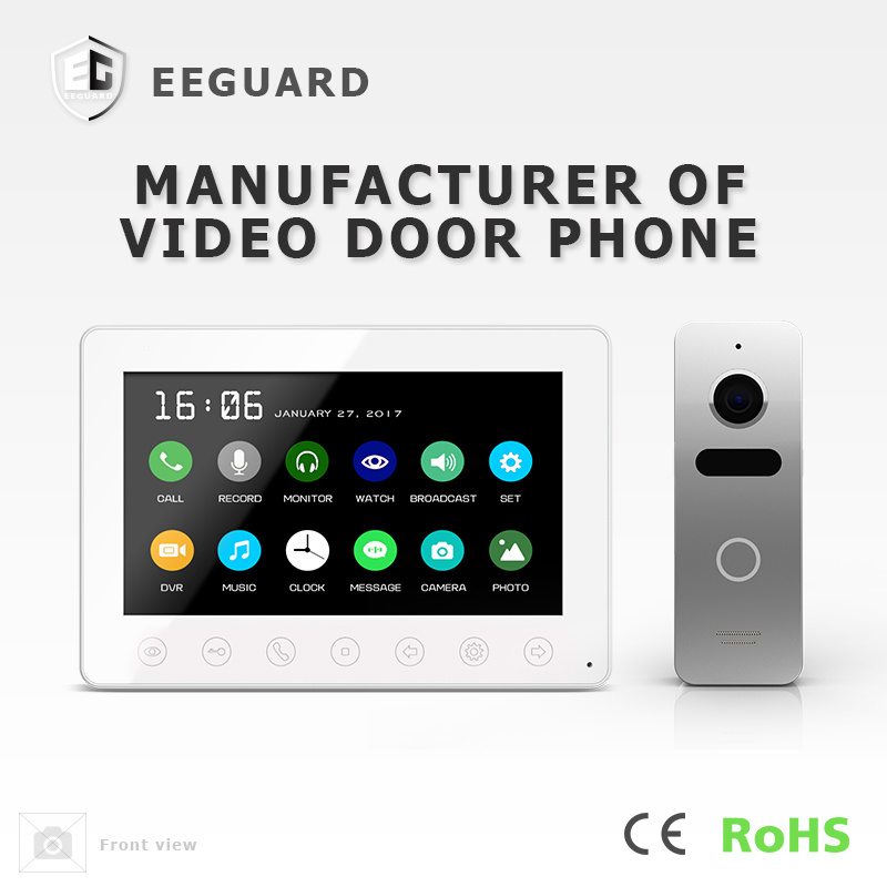 Memory 7 Inches Home Security Touch Keys Intercom Video Door Phone
