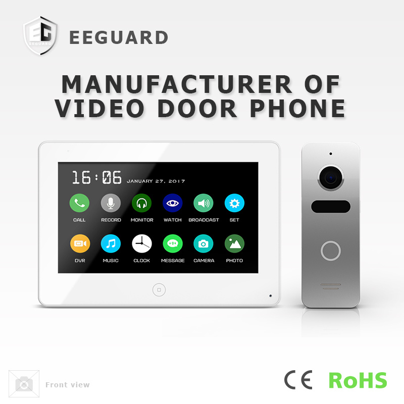 Touch Screen 7 Inches Interphone Home Security Video Door Phone with Memory