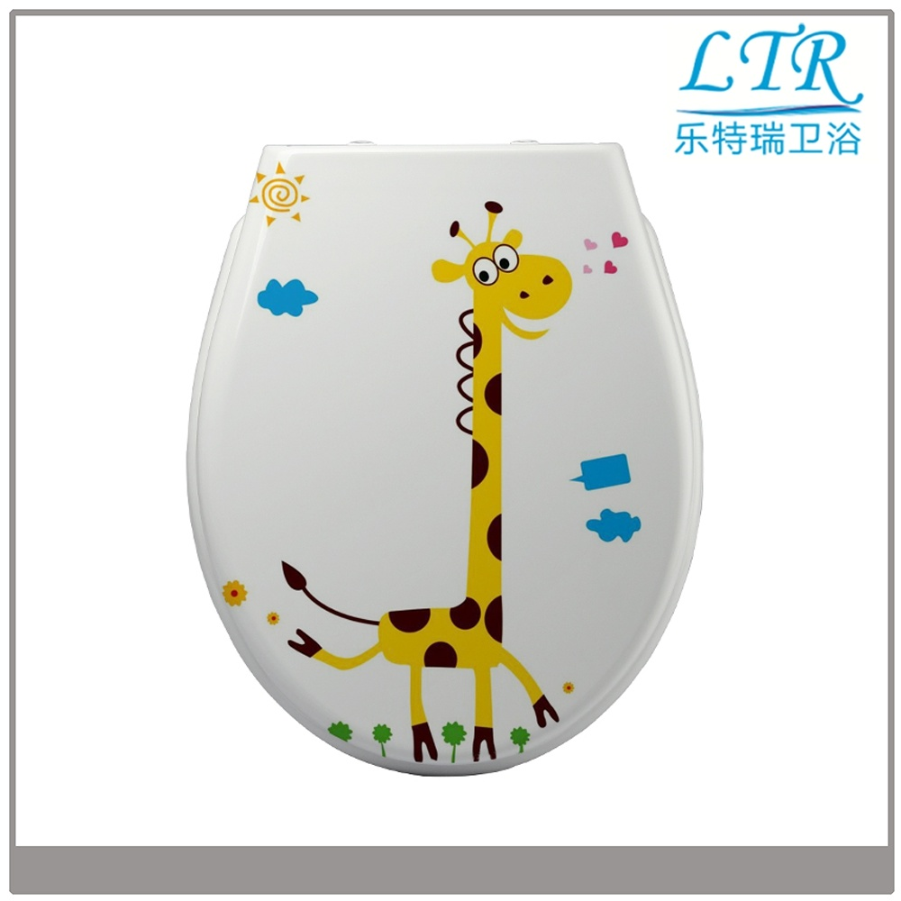 Western Animal Round Print Beach Wc Toilet Seat Cover with Soft Close Damper Hinge