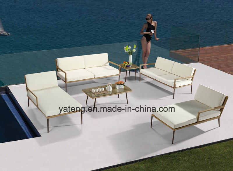 New Design Hotel Furniture Outdoor Patio Pool Side Furniture Sofa Set with Alum &PE-Rattan Furniture