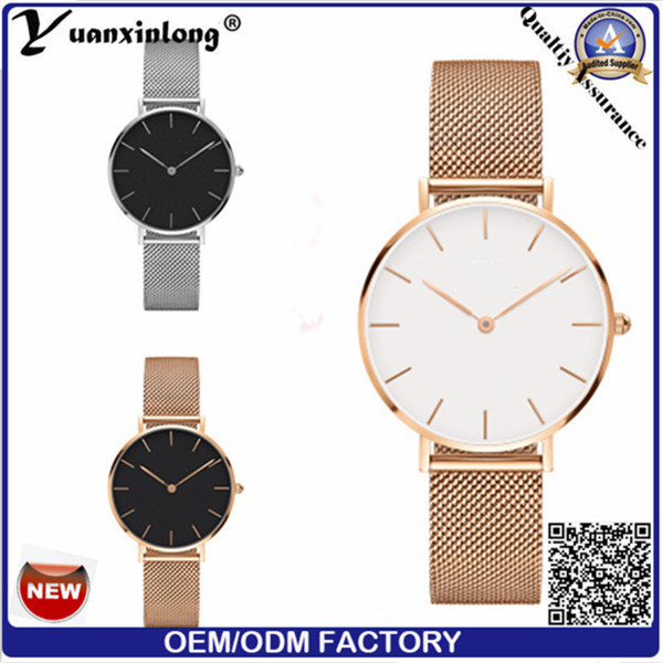 Yxl-524 Top Women Fashion Rose Gold Simple Dial Luxury Stainless Steel Mesh Strap Lady Wristwatch