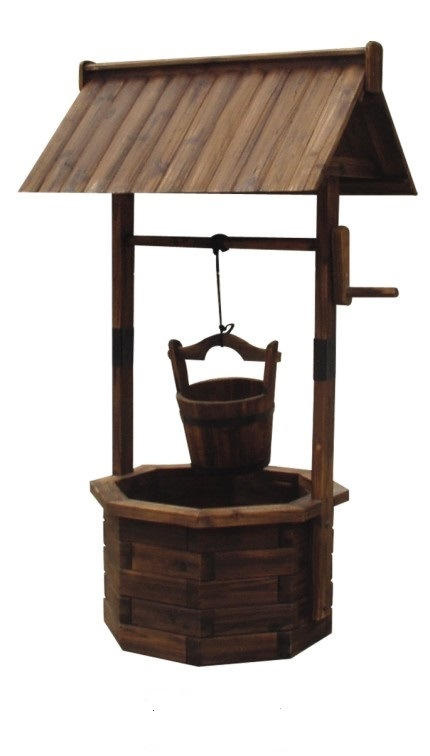 Decorative Wooden Wishing Well Patio Planter.