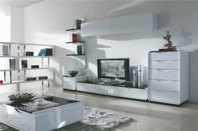 Modern MDF TV Stand with Glass Top (DS-149)