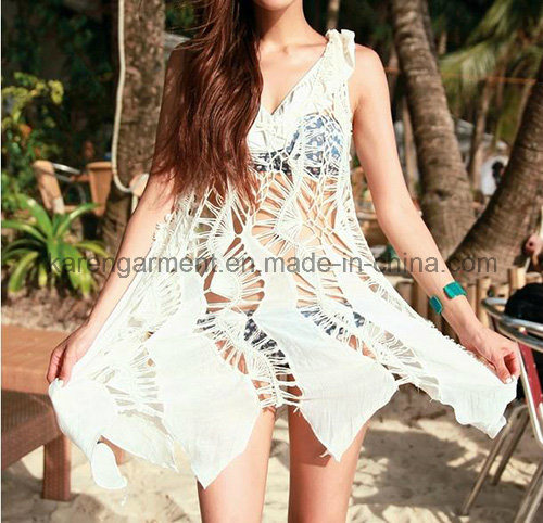 Women High Waist Hollow Crochet Chiffon Vest Dress