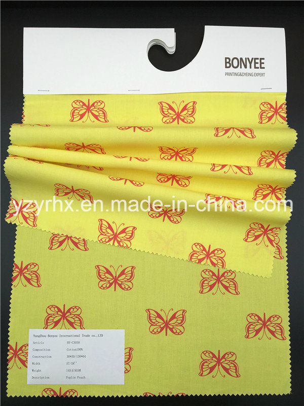 Finished Fabric 100% Cotton Poplin Peach Printed Yellow Fabric Red Butterfly