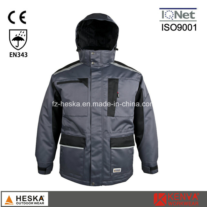 Men Safety Cothing Winter Parka Jacket with Tape Seam