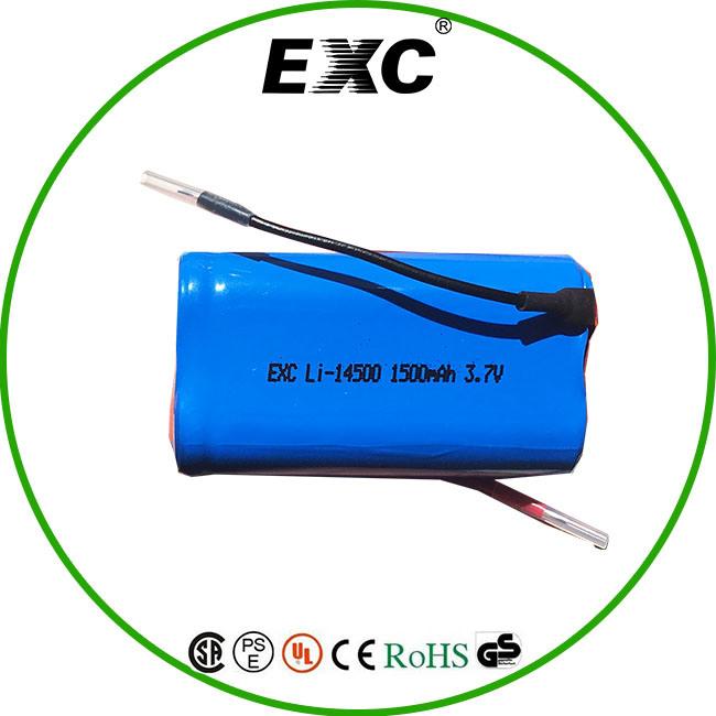 Long Life Li-ion AA Battery 14500 3.7V Battery 1500mAh