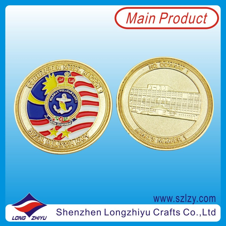 Malaysian Military Souvenir Badge Coins Gold Enamel Medal Coins (LZY10000348)