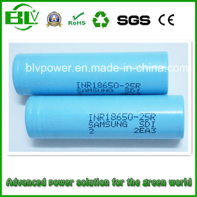 18650 2500mAh 25r Li-ion Battery with Samsung Inr18650-25r High Drain Rechargeable 18650 Mod Battery