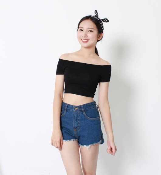 Factory Clothes 2016 Fashion Short Sleeve Knitted Cotton Women Crop Tops