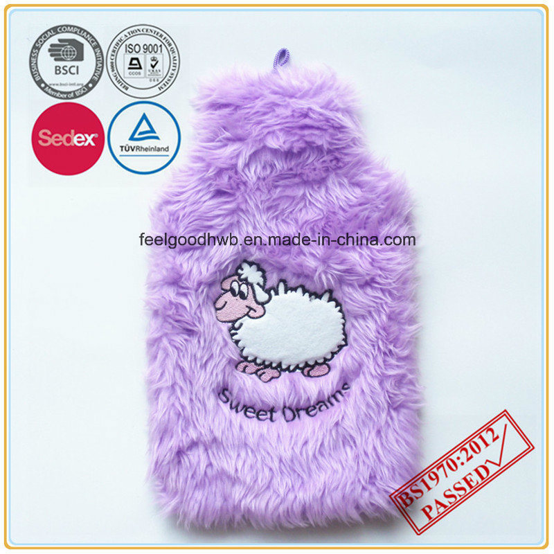 Cow Embroidery Pink Color Faux Fur Hot Water Bottle Cover