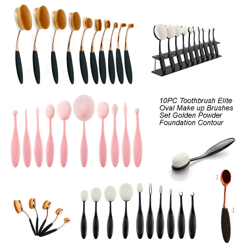 Rainbow Color Toothbrush Shape Makeup Tool Kits 10PCS Oval Brush