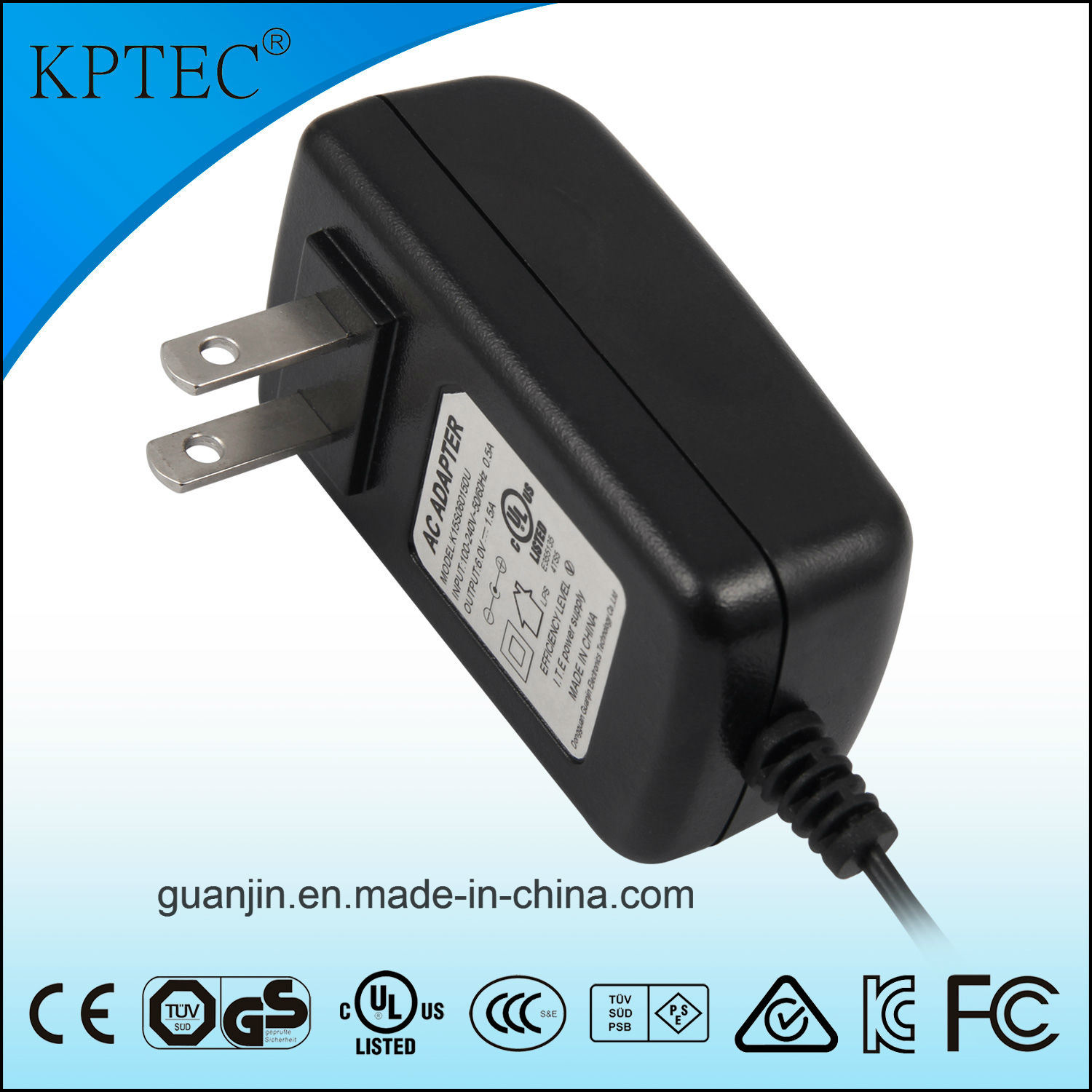 Kptec Us Plug Charger with 12V UL RoHS Certificate