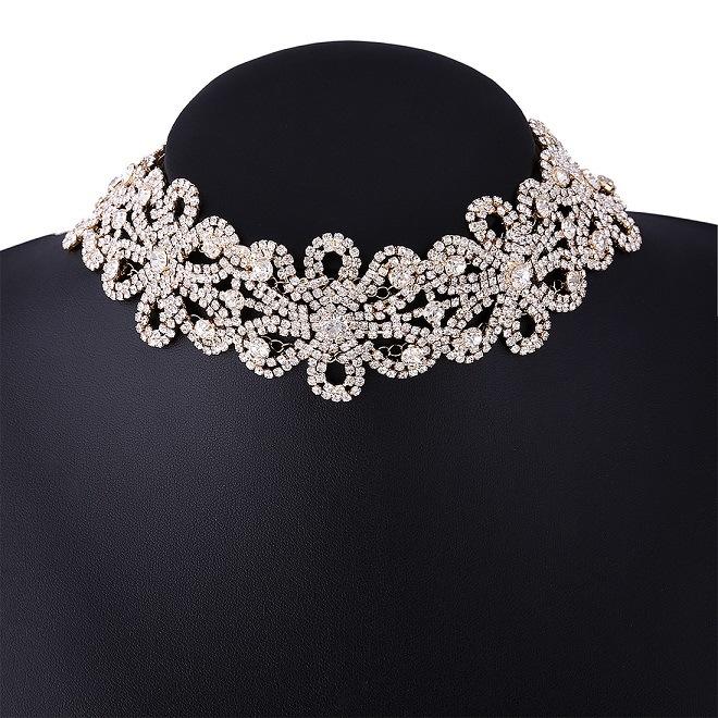 Fashion Luxury Full Rhinestone Collar Choker Necklace Jewelry