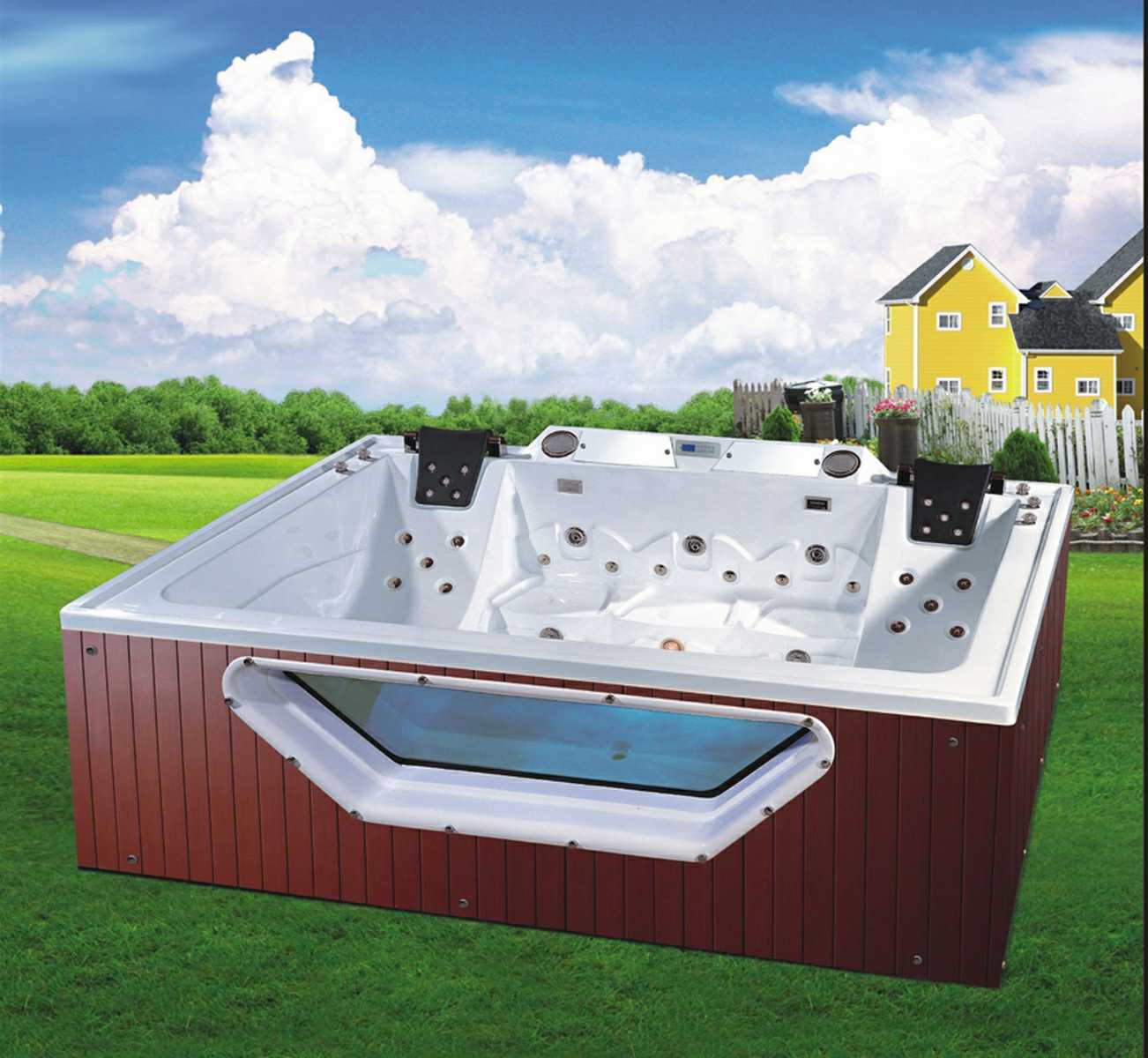 2900mm Square Free Standing Outdoor SPA for 5 Persons (AT-9002)
