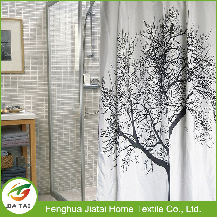 Polyester Black White Best Elegant Tree Shower Curtain