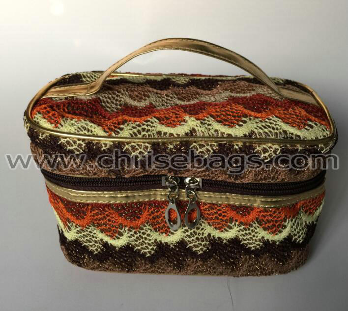 Cotton Nylon Woven Fashion Hand Cosmetic Bag
