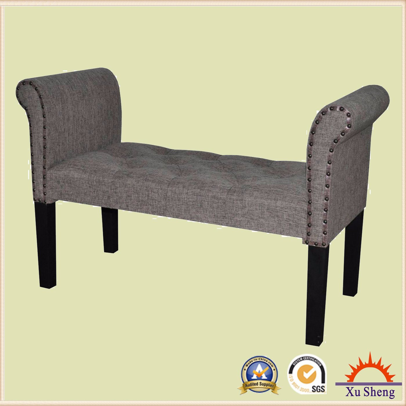 Home Furniture Accent Button Tufted Wooden Single Bench, Loveseat