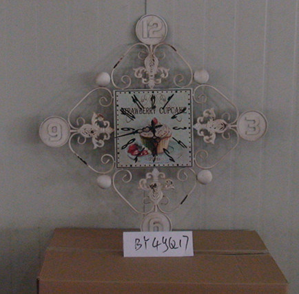 Square Iron Wall Clock Craft Home Decoration