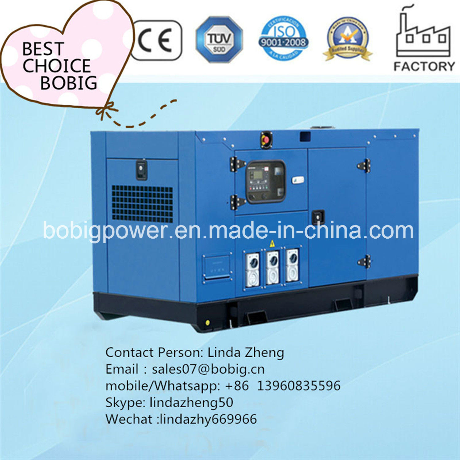 China 15kw Electric Soundproof Silent Power Diesel Generator with