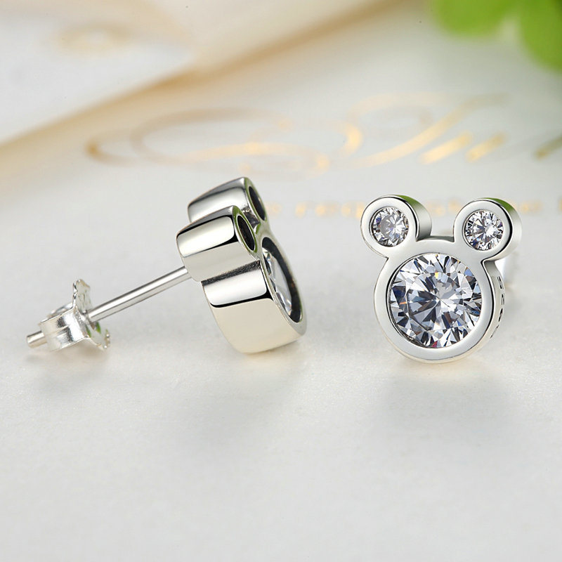 Fashion Jewelry Design 925 Sterling Silver Mickey Stud Earrings