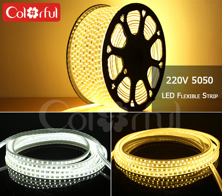 Long Life High Brightness AC230V SMD5050 Flexible LED Strip