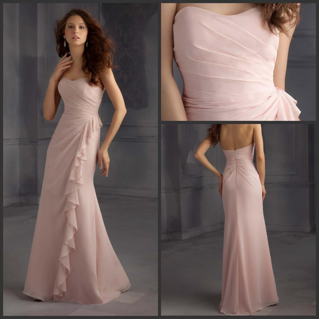 China 2015 Pink Chiffon Evening Dresses Strapless Floor