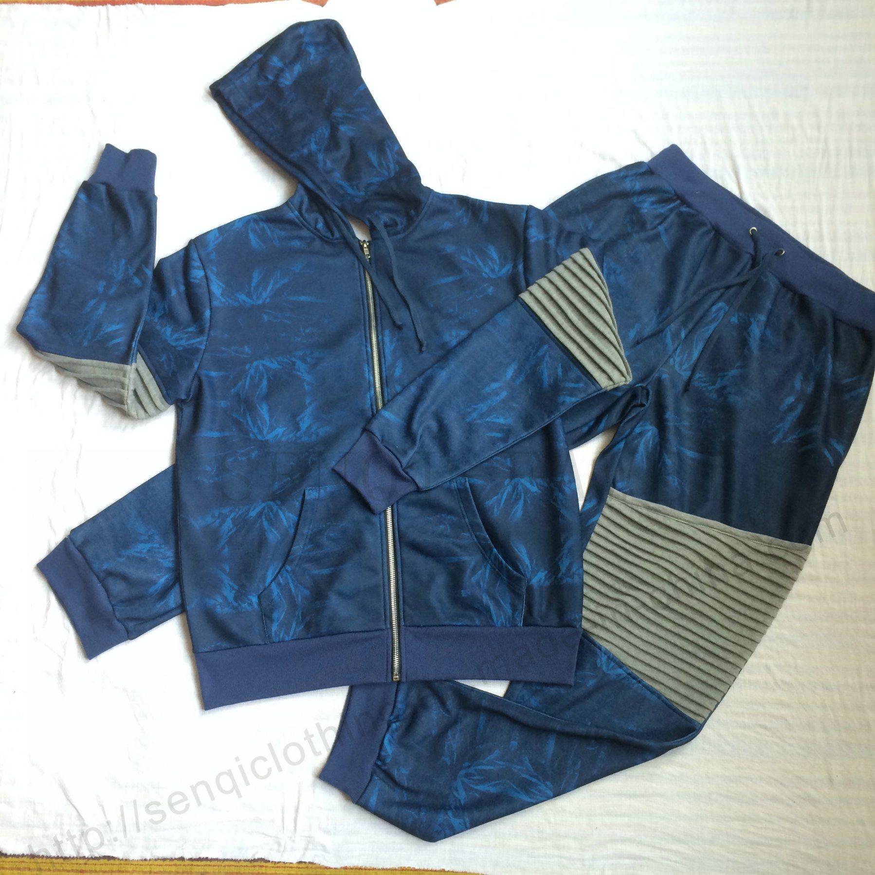 Men Denim Transfer Print Sport Tracksuit Clothes in Adult Sport Wear Fw-8665