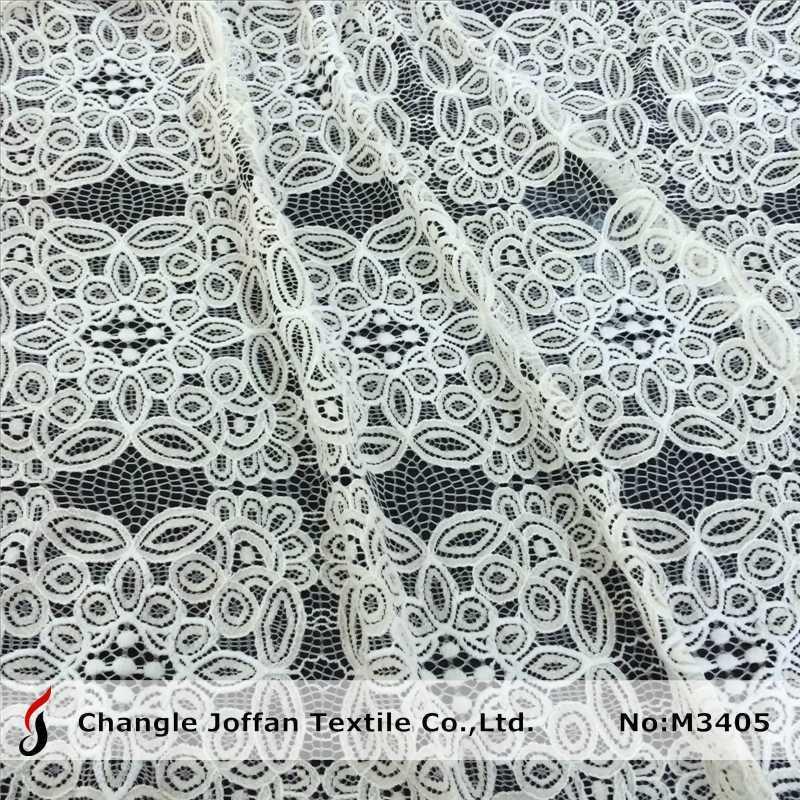 Cotton Geometric Big Pattern Raschel Lace Fabric (M3405)