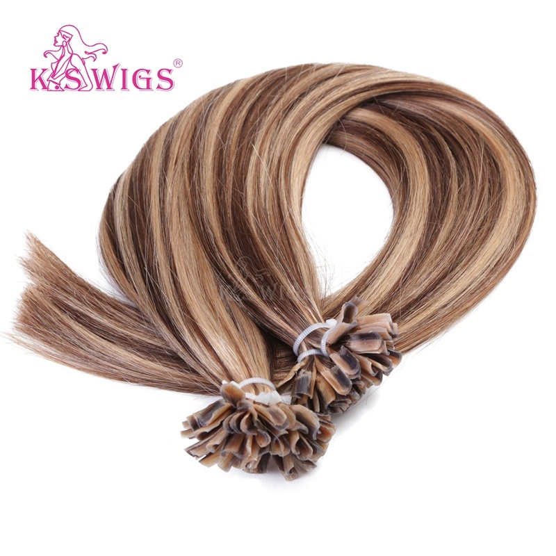 K. S Wigs Discount Price U Tip Hair Nail Hair Extension Brazilian Remy Human Hair P4-27#