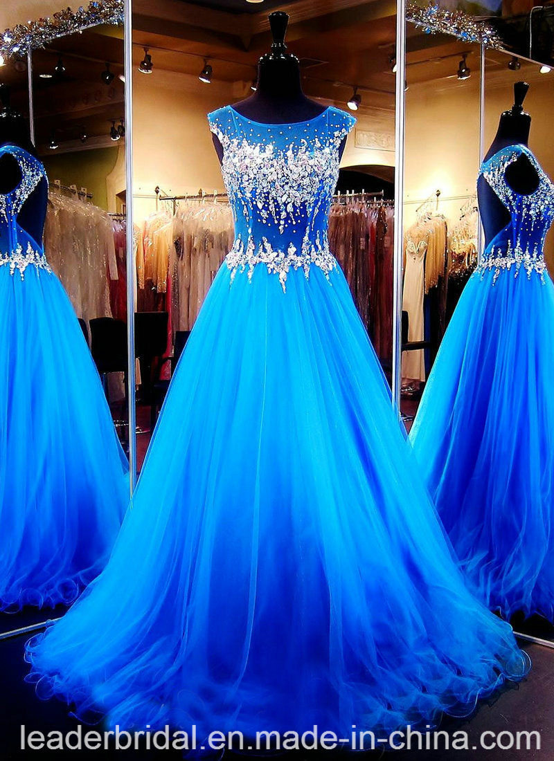 Real Photo Prom Gowns Beads Crystal Blue Party Cocktail Evening Dresses P16923