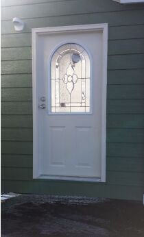 Fangda Bronze Caming Small Oval Glass Primed White Prehung Front Door