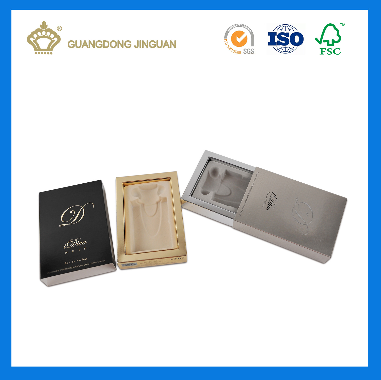 Luxury Custom Print Paper Drawer Packaging Box for Cosmetic Products (with velvet blister tray)