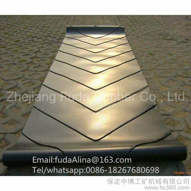 V Guide Cleated Chevron Rubber Conveyor Belt