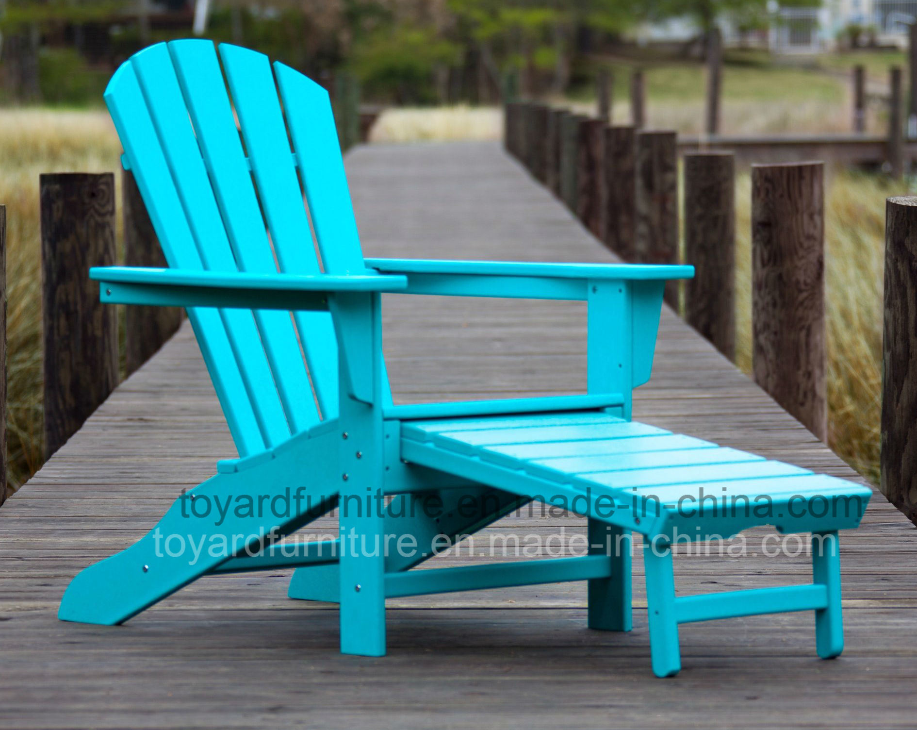 New Hot Patio Garden Furniture Blue Polywood Outdoor Deck Sun Chair with Adirondack Back