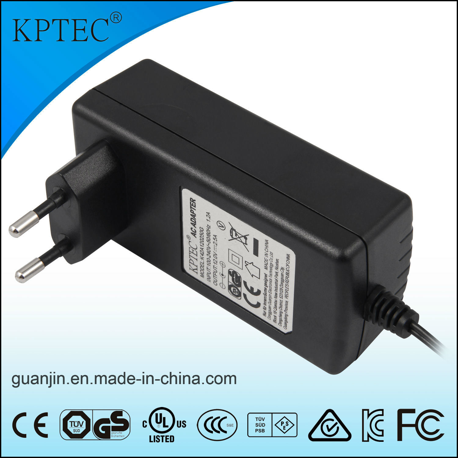 Power Supply with EU Us Au Japan Plug Kptec Maker