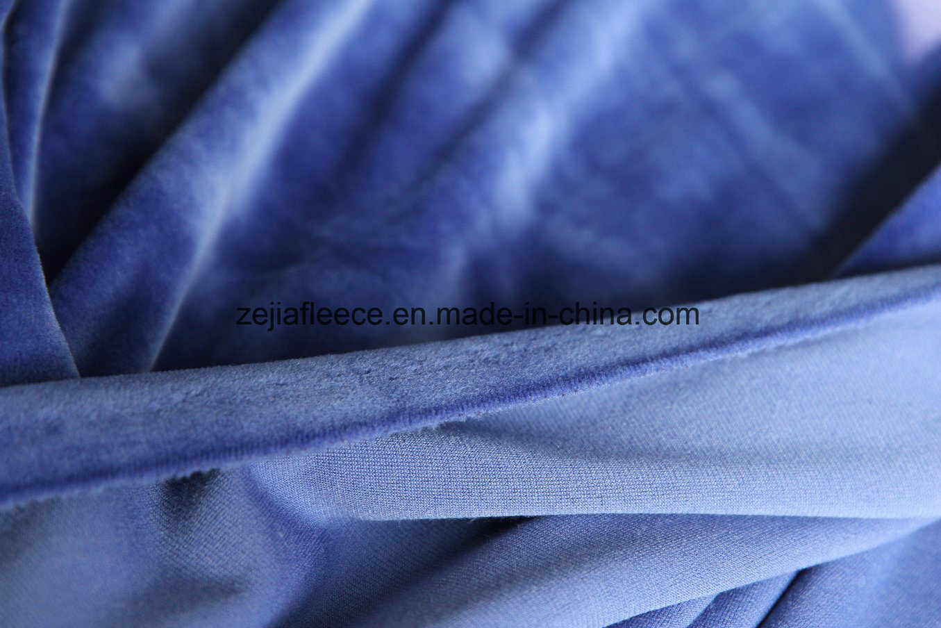 Super Soft Short Plush Velvet Fabric in Royal blue Color