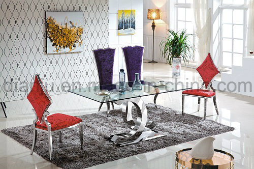 Modern Furniture Glass Stainless Steel Dining Table (A6085)