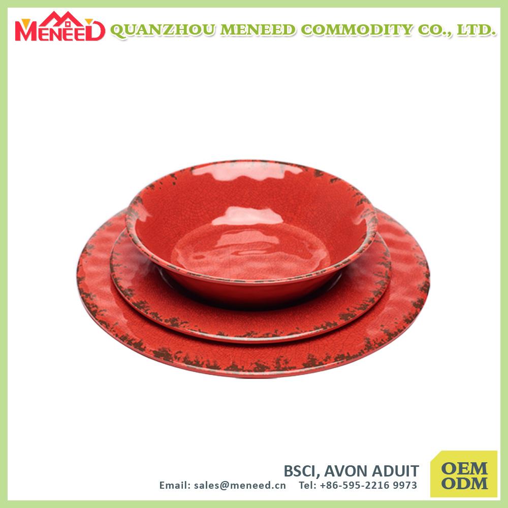 Ceramic Like Cracker design Melamine Bread Bowl