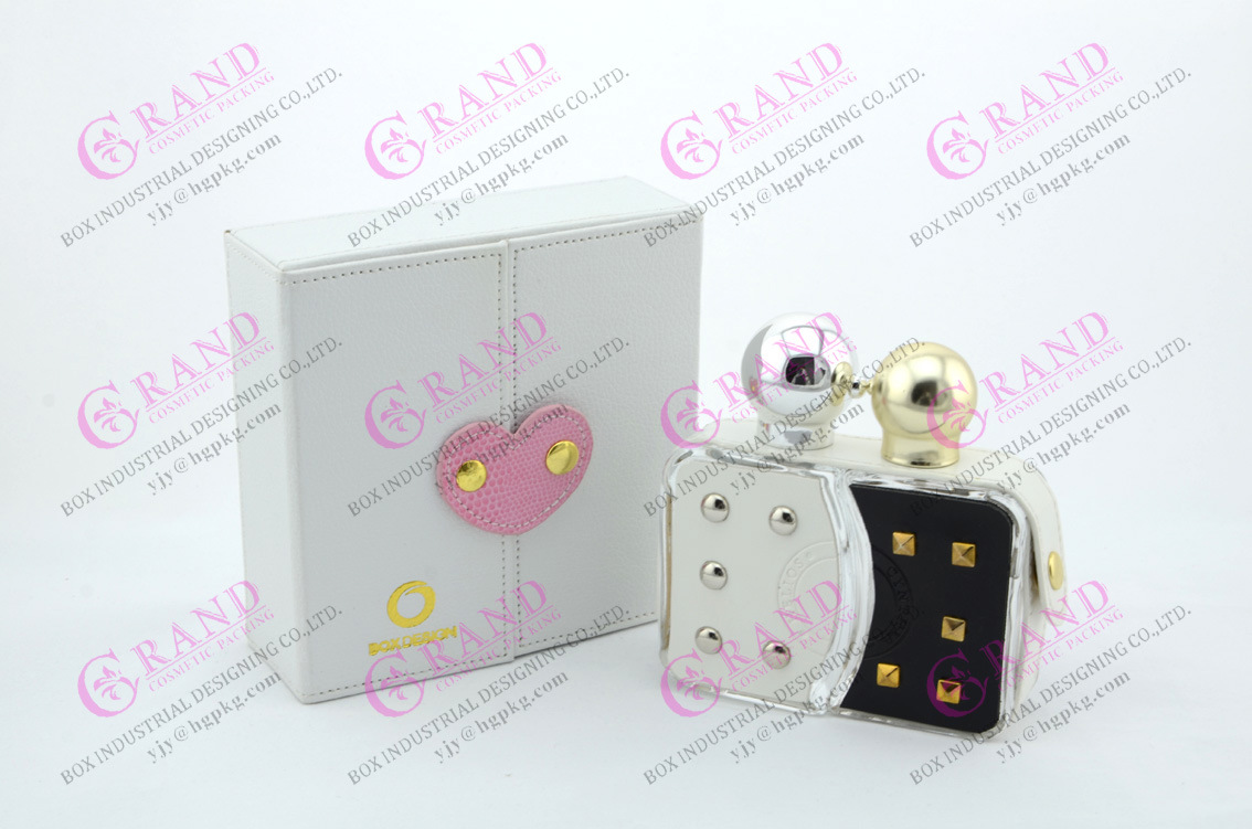OEM/ODM Luxury Glass Perfume Bottle of Leather Decoration