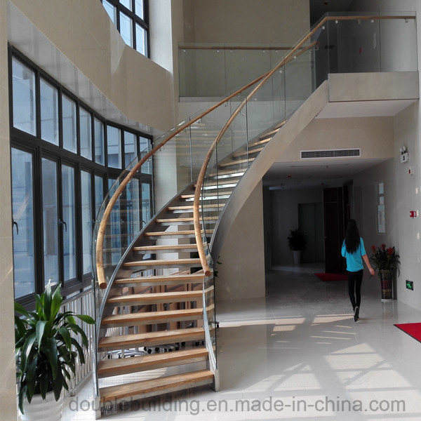 DIY Staircase Curved Staircase with Stone Tread