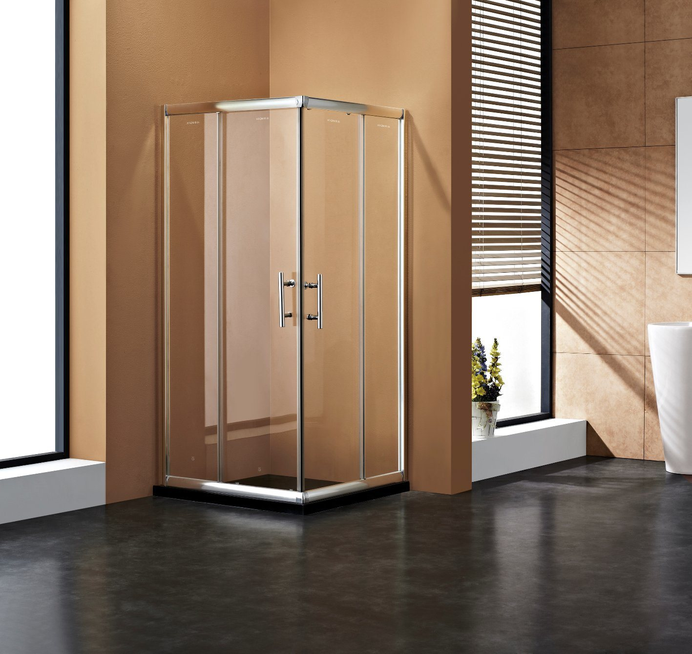 China Square Shape Double Sliding Doors Framed Shower Enclosure ...