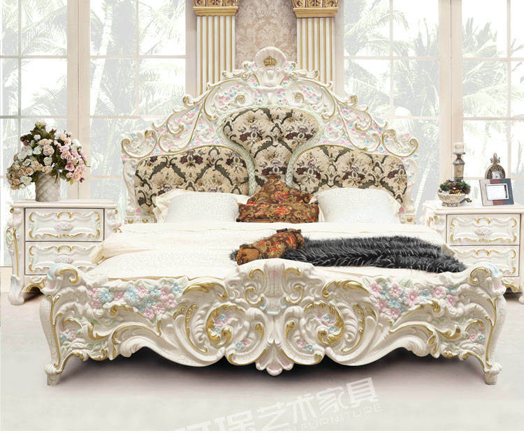 China Luxury French Style Nandmade Bedroom Furniture 3901d China Luxury Bed French Style