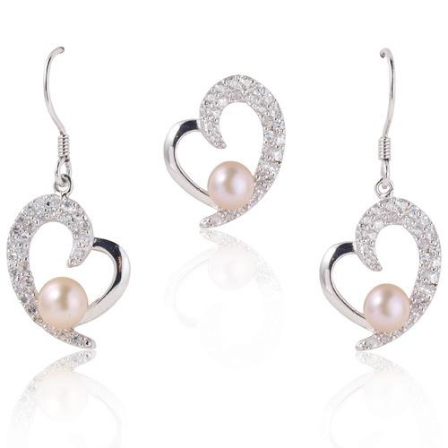 Pearls Jewelry, White Pearls Heart Jewelry, Pearl Earring, Pearl Pendant (WSHWV02276E)