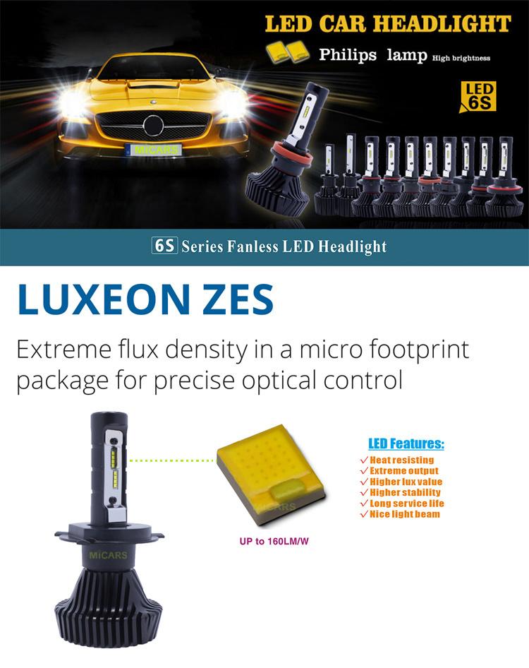 Newly Upgrade New Version High Power Fanless Car LED Headlight