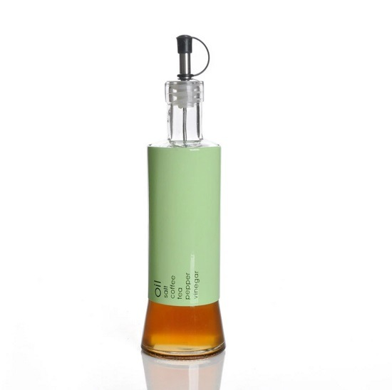 Stainless Steel Wrap Glass Oil Bottle with Lid