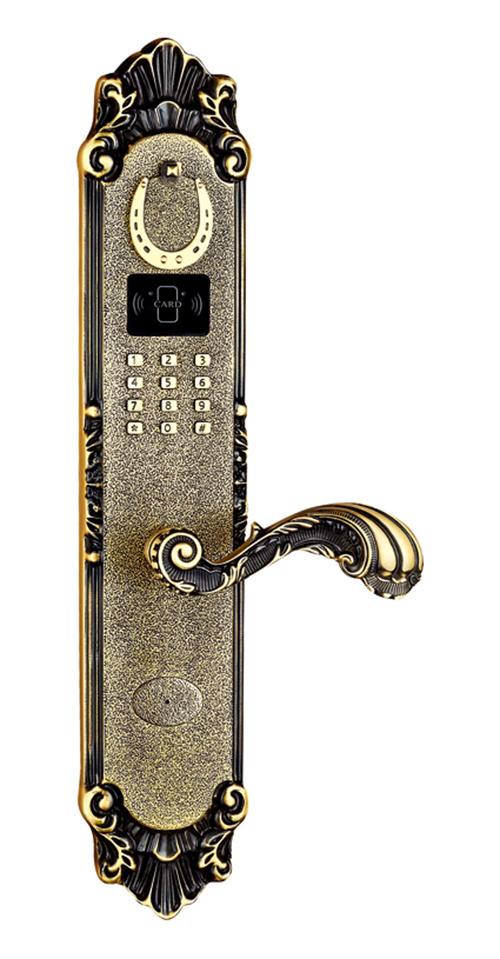 Gold Plated Brass Residential Fingerprint Lock and Password Door Lock