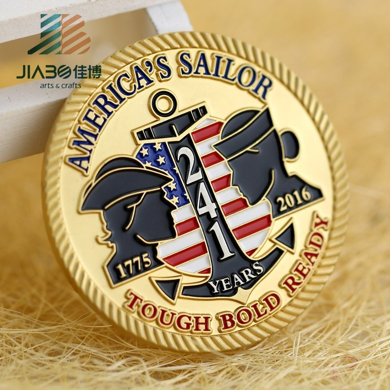 Customized Two Tone Finished Metal Souvenir Challenge Coin for Promotional Gift