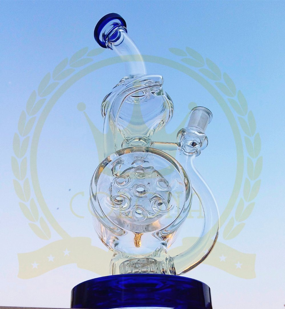 Flower Matrix Tall Bigger Recycler Tobacco Tall Color Bowl Mobius Glass Smoking Pipe with with Matrix Perc