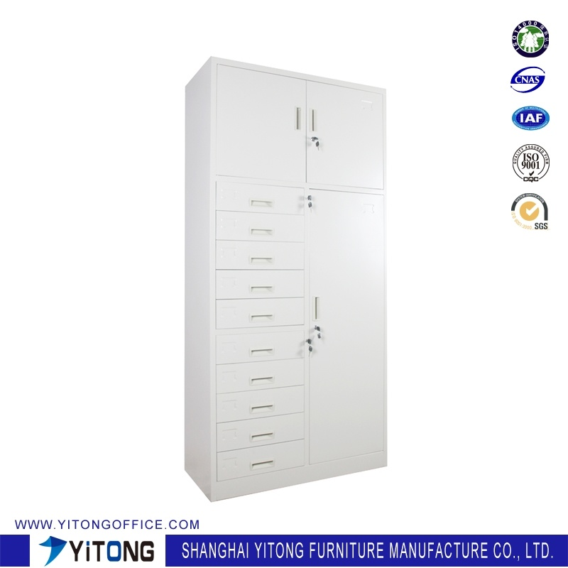 Yitong 3-Door 10-Drawer Metal Storage Cabinet / Office Use Steel File Cabinet